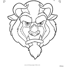 The Beast Beauty And Color Page Disney Coloring Pages Plate