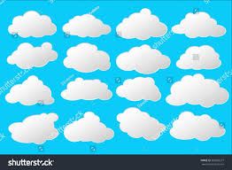 100 Flat Cloud Style Vector Illustration White