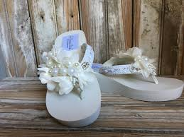 Destination Wedding Beaded Lace Wedge Flip Flop Reception Beach Shoe Bridal