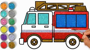 100 How To Draw A Fire Truck For Kids 3165 MB To With Glitter Colored Ing And