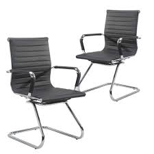 Wahson Heavy Duty Leather Office Guest Chair Mid Back Sled Reception  Conference Room Chairs, Set Of 2 (Black) Bouncee Chair Office Swivel Chair Idfdesign Ofm Essentials Collection Fabric Executive Guest With Arms And Wooden Legs In Tan Ess9025tan Chairs Mandaue Foam Philippines Flash Fniture High Back Black Designer Mesh Star Products Faux Leather Visitor That Wont Completely Ruin The Look Of Your Antique Vintage Desk 1987 White Crafts Home Code White Visitor Chair Sw_1 Task Seating Coalesse Reception Youll Love 2019 Wayfair