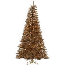 Metal Mix Tinsel 55 Brown Artificial Christmas Tree With 350 LED Clear White Lights