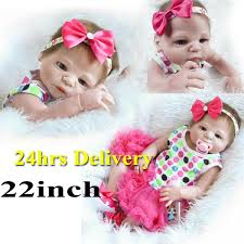 22 Inch Baby Girl Doll Full Body Silicone Reborn Neborn Realistic
