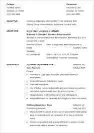 Resume Example For Internship Template