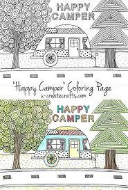 Happy Camper Free Coloring Page Printableso Cute