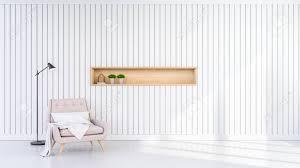 minimalistisches design wohnzimmer interieur pastell rosa sessel auf weißem wand hintergrund 3d rendering