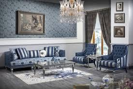 casa padrino luxus barock wohnzimmer set dunkelblau hellblau silber sofa 2 sessel couchtisch barock wohnzimmermöbel