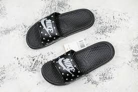 Nike Benassi Swoosh Black White Camo Summer Beach Slippers For Sale