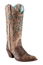 Corral Brown/Turquoise Laser Tooled Inlay Cowgirl Boots ...