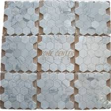 calacatta gold 3 inch hexagon mosaic tile honed marble from