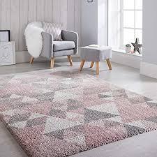 flair rugs dakari geometrischer shaggy teppich rosa creme grau 120 x 170 cm