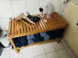 badezimmer regal bank sauna ikea braun