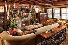 Decoration Creative Spending Christmas In A Cabin With Rustic Stone Fireplace Surrounds Between Small Artificial Pine