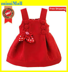 Free ShippingNew Toddler Girls Woollen Red Princess Flower Tie Dress5pcs LotKid Clothes Outfit CostumeChildren Party Dress