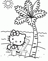Hello Kitty Coloring Page Relaxing On The Beach