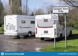100 Vans Homes Camper Only Sign And Caravan Mobile Parking Stock Photo