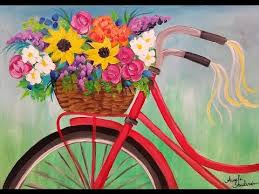 Easy Flower Basket Bike Acrylic Painting Tutorial LIVE Spring Floral Beginner Lesson