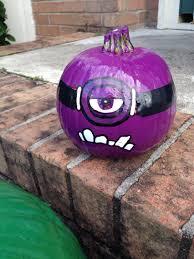 Pumpkin Carving Designs Minion by Purple Minion Pumpkin Spray Paint Purple Draw On Face With