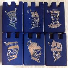 Vintage Stratego Board Game Parts Wood Wooden Pieces Blue 4 5 6