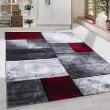 kurzflor design teppich rechteck karo muster wohnzimmerteppich grau rot meliert