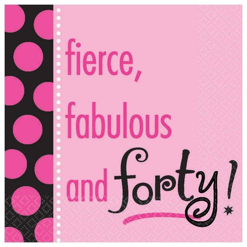 Amscan Another Year Fabulous Beverage Napkins - Pink, Forty, 16ct