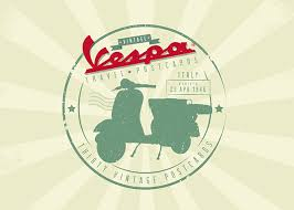 The Vintage Vespa Travel Postcards Logo Intended To Resemble A Passport Stamp Date On Is That Was Released