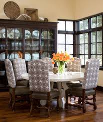 Round Table Dining Room Contemporary With Glass China Cabinet Dark Wood