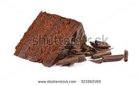 stock photo chocolate cake slice with curl on white background