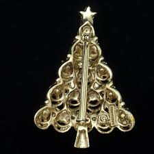 Christmas Tree Pin Vintage Rhinestones Hollycraft Brooch Xmas World Of Eccentricity Charm