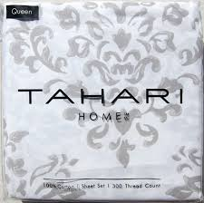 Tahari Home Bedding by Tahari Taupe Gray Floral Damask Medallion 4pc Queen Sheet Set 100
