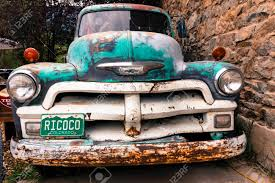 100 Truck License RICO COLORADO JULY 3 2018 USA Old Chevy Pickup With