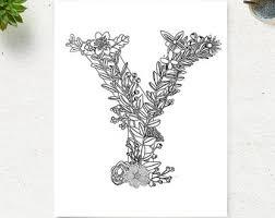 Printable Floral Alphabet Coloring Page Letter Y Instant Download Digital Art Zen Pages