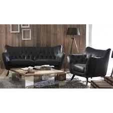 canapé en cuir canape cuir vintage noir 2 places mister canapé