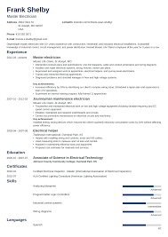 Electrician Resume: Sample & Complete Guide [20+ Examples] Iti Electrician Resume Sample Unique Elegant For Free 7k Top 8 Rig Electrician Resume Samples Apprenticeship Certificate Format Copy Apprentice Doc New 18 Electrical Cv Sazakmouldingsco Samples Templates Visualcv Pdf Valid Networking Plumber Jameswbybaritonecom Journeyman Industrial Sample Resumepanioncom Velvet Jobs
