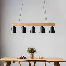 zmh pendelleuchte holz für esstisch rustikal esszimmerle esstischle hängeleuchte 5 flammig pendelle e27 leuchtmittel inklusiv schwarz