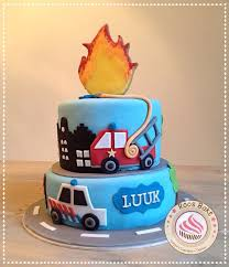 100 Fire Truck Birthday Cake Police And Firetruck Cake With Flame Cookie On Top Politie En