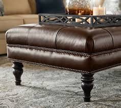 Leather Tufted Chair And Ottoman by Martin Tufted Leather Ottoman Pottery Barn