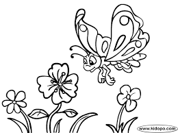 Free Butterfly And Flowers Printable Online Coloring Page