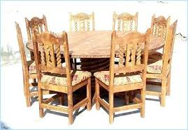 Round Dining Table 8 Chairs Rustic Oak And Glass Set
