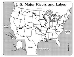 US Major Rivers And Lakes Outline Map