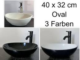 keramik aufsatz waschbecken oval schwarz weiß 40x32cm klein