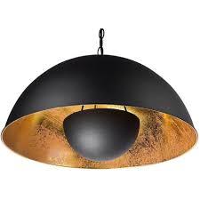 hängeleuchte schwarz und gold metall mit schirm im scheinwerfer look halbkugel industrie look für wohn schlaf und esszimmer