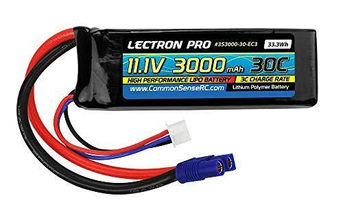 Lectron Pro 11.1V 3000mAh 30C Lipo Battery with EC3 Connector for The Blade 350 QX, Qx2, QX3 & ParkZone Planes