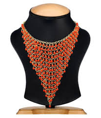 Shilpi Handicrafts Beads Studded Red Coloured Necklace