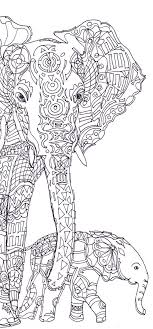 Elephant Clip Art Coloring Pages Printable Adult Book Hand Drawn