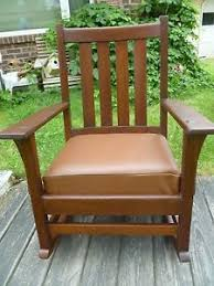 antique stickley mission oak arts crafts rocker rocking chair