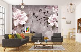 fototapete blüten beton ornament rosa fototapeten tapete wandbild blumen weiß m1640