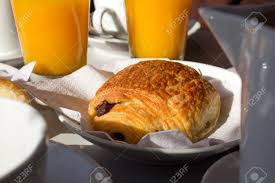 Classic French Breakfast With Hot Chocolate Croissant And Fresh Juice Stock Photo