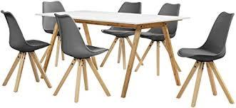 en casa esstisch bambus weiß mit 6 stühlen grau gepolstert 180x80cm esszimmer essgruppe küche