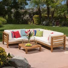 oana outdoor 4 piece acacia wood sectional sofa set with cushions